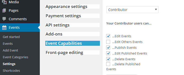 Event capabilities settings page