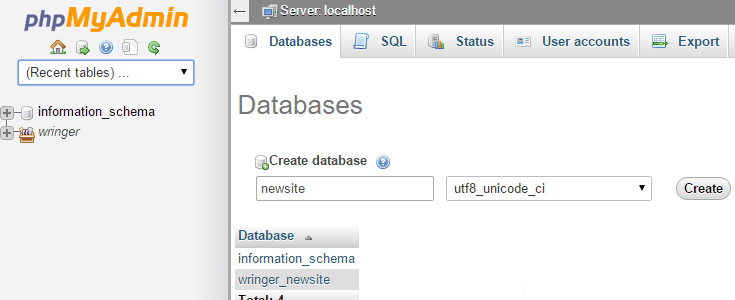 In the Database tab, a name and collation have been set.
