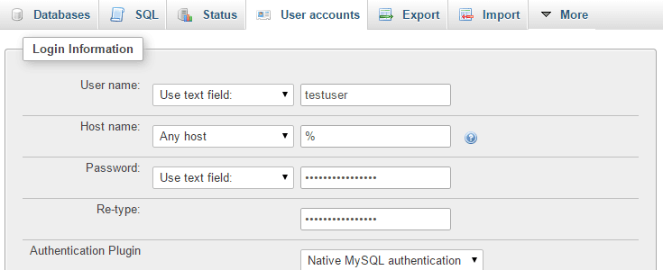 The username and password fields have been filled out to create a new user.