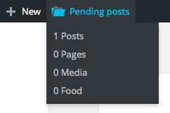 The Pending Posts menu will be available only to site editors