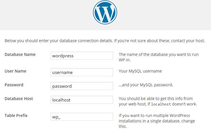 The database details form.