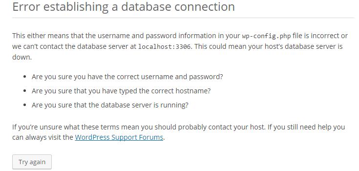 Error establishing a database connection message.