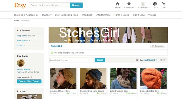 A typical Etsy shop. Unfortunately, shop owners aren't able to customize the look of their store beyond the standard design.