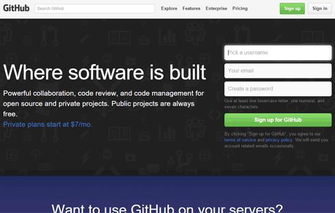 The GitHub homepage
