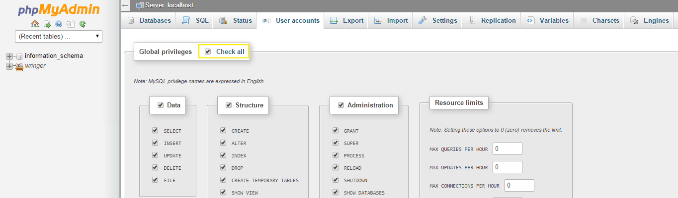 You need to be sure global privileges are selected for your user.