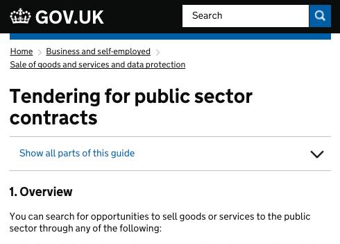 UK government procurement site