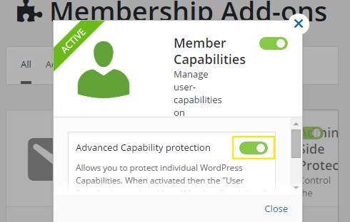 "The ""Member Capabilities"" inline pop-up with an advanced feature."