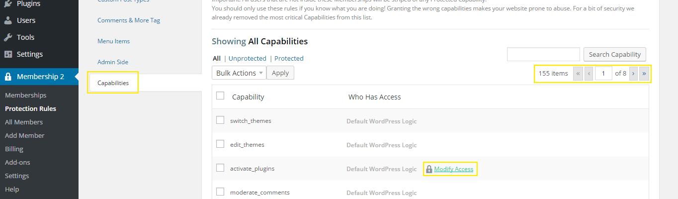 The Membership 2 Pro capabilities settings.