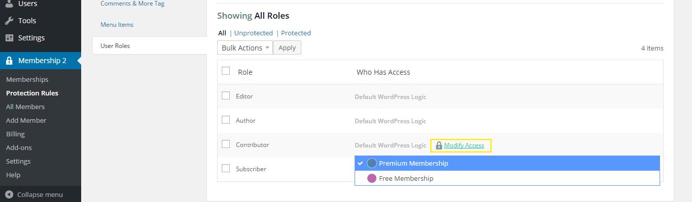 "The ""User Roles"" tab in the Membership 2 settings."