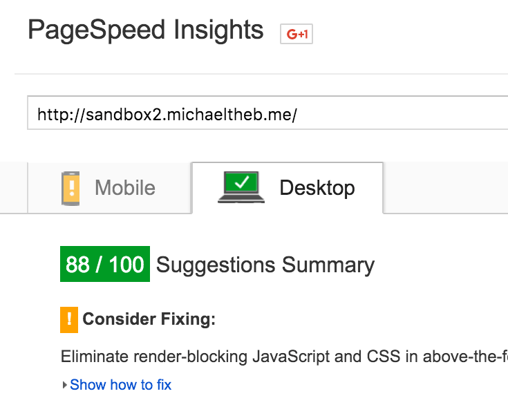 Image from Google PageSpeed Insights to prove that Hummingbird isn't just awesome on its own terms, it's actually really properly awesome.
