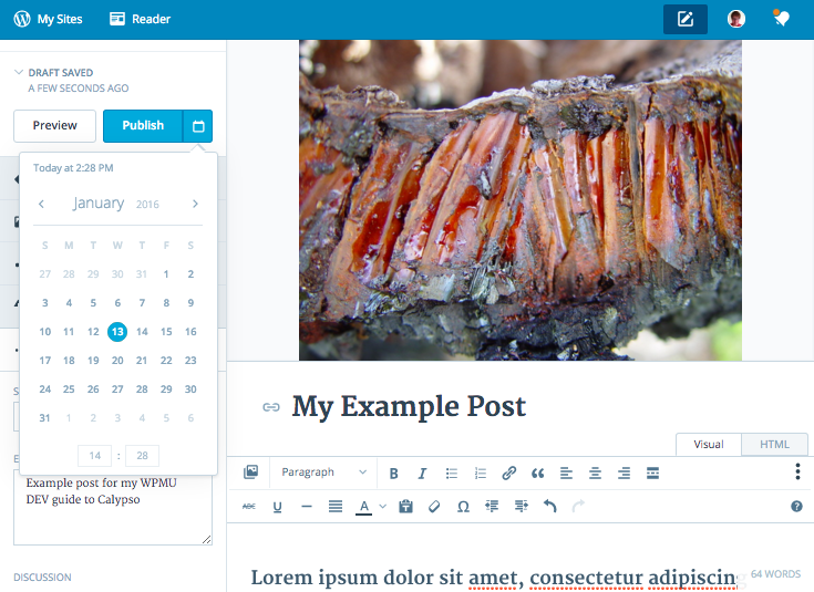 Calypso - scheduling a post