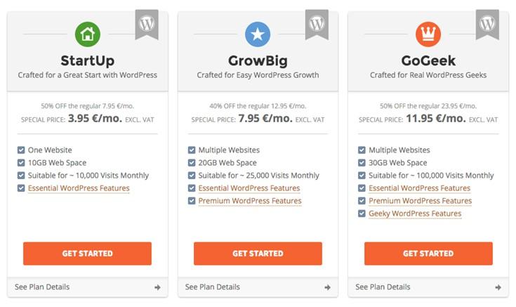 SiteGround's WordPress plans