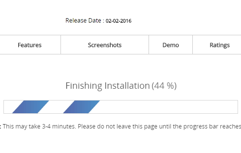 The progress bar in Softaculous running at 44%.
