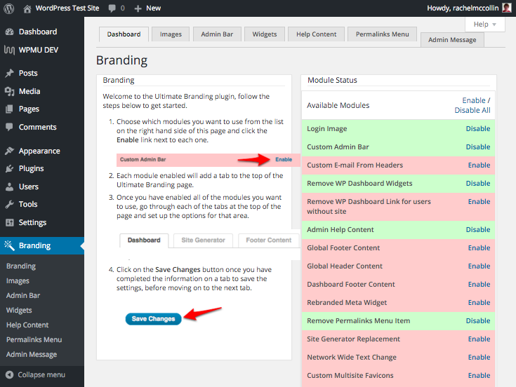 Ultimate Branding plugin - turn modules on and off in the dashboard