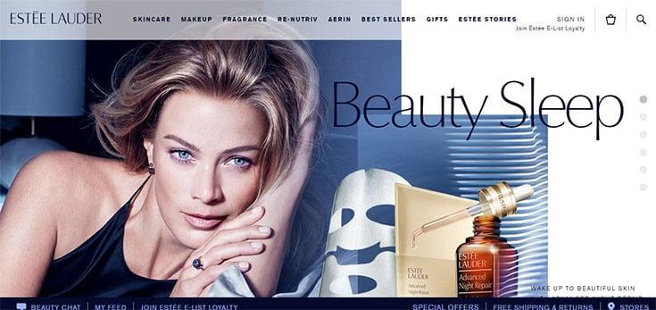 The Esteé Lauder website uses blue as a primary color