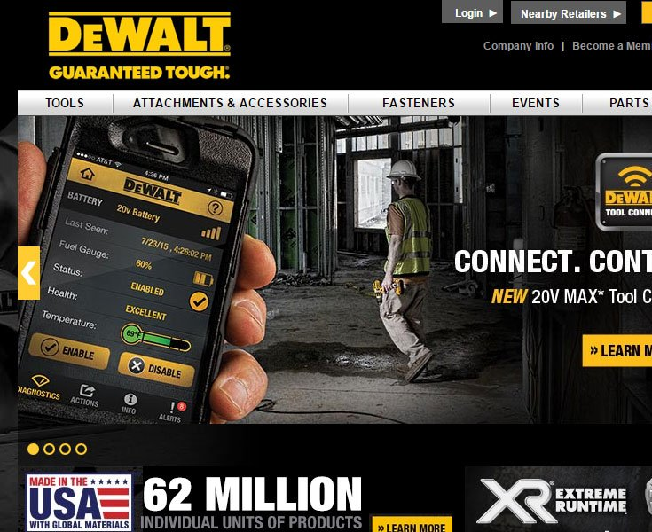 Dewalt targets men with a black and yellow color scheme.
