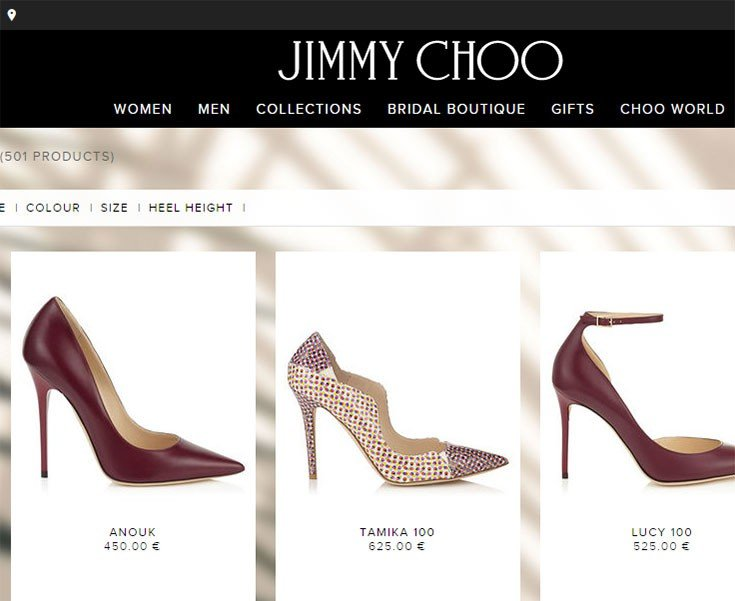 The Jimmy Choo site definitely targets women but it uses black and white.
