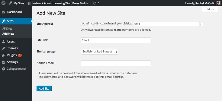 Adding a site in WordPress Multisite