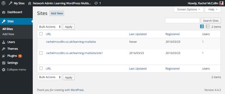 WordPress Multisite sites screen