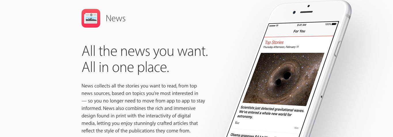 Apple News optimizes your content for any device.