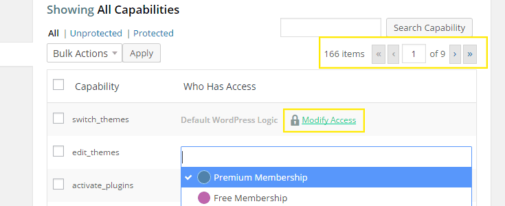 Choose a capability to add to a membership or search for one.