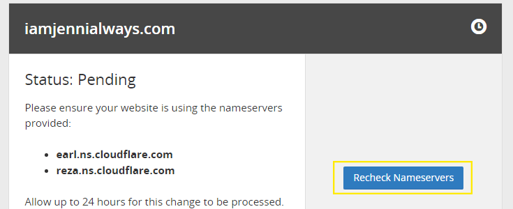 "The main account page for CloudFlare with a status displayed as ""Pending."""