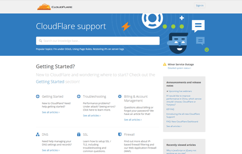 The front page of CloudFlare's support site.