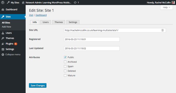 WordPress Multisite edit site info