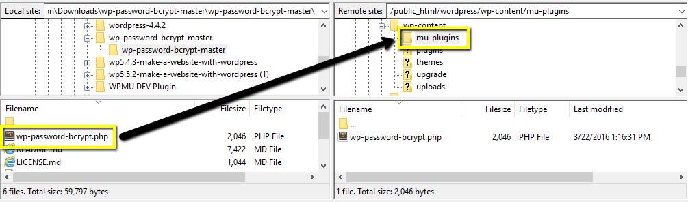 use ftp to copy the bcrypt plugin to mu-plugins