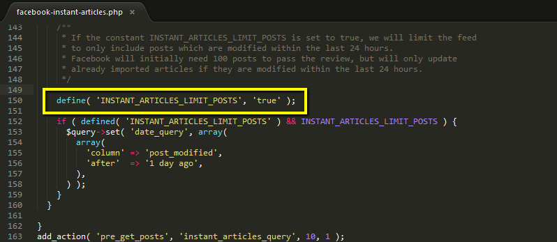 define INSTANT_ARTICLES_LIMIT_POSTS as true to limit the feed to items updated in the last 24 hours