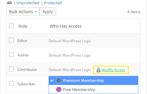 "The ""Modify Access"" button is displaying and is also highlighted. The membership list is also visible beneath the link."