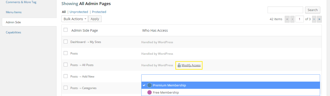 "The ""Modify Access"" link is displayed next to an option and it's highlighted. It has also been clicked to reveal a list of memberships to choose."