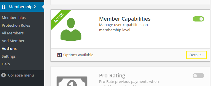 "The Details"" link is highlighted in the ""Member Capabilities"" section of the page."