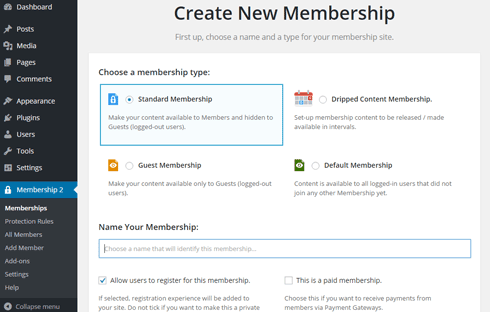 "The ""Create a New Membership"" settings page with four membership types listed."