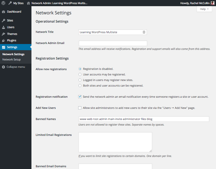 WordPress Multisite network settings screens