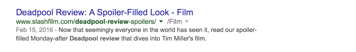 A standard search result.