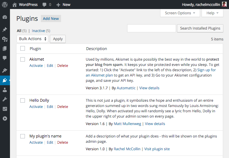 Plugin admin screen with our plugin added