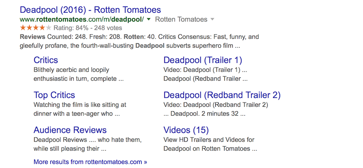 A search result optimized with a rich snippet.