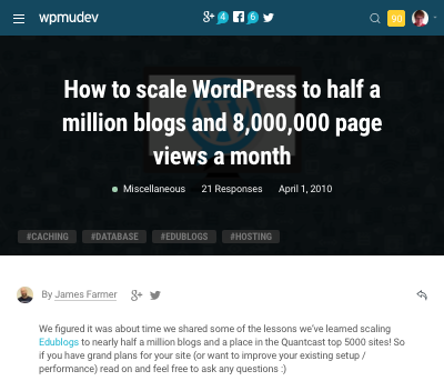 We had to do some serious work scaling WordPress Multisite for Edublogs