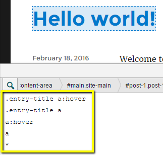 The plugin suggests selectors when you click on any element on the page