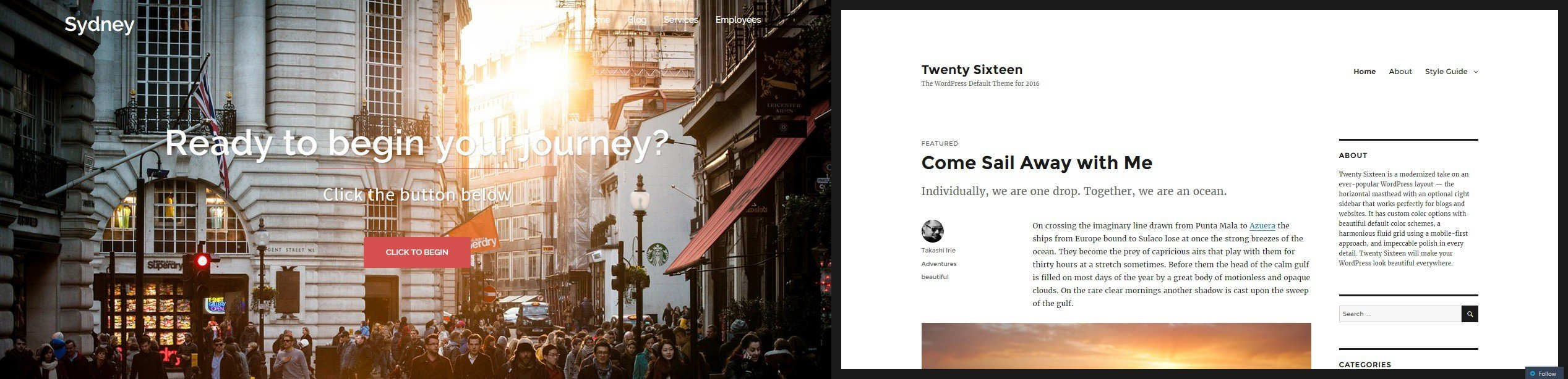 Sydney or Twenty Sixteen? Choose the theme that best fits your content.