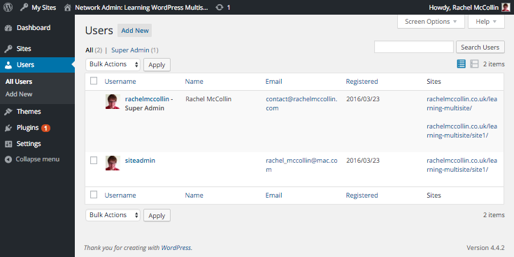 WordPress Multisite users screen