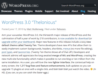 WordPress 3.0 page on WordPress.org