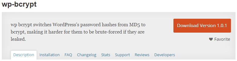wp bcrypt plugin page at wordpress.org