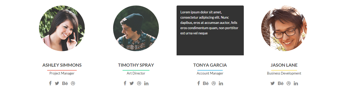 The Zerif Lite Theme includes a staff profiles feature.