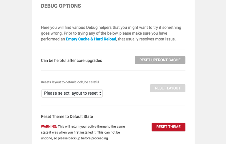 The new debug options available in Upfront 1.2.