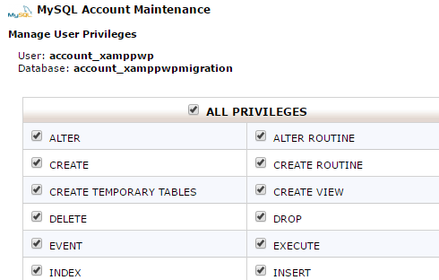 use mysql or phpmyadmin to give the user you created all privileges to the database