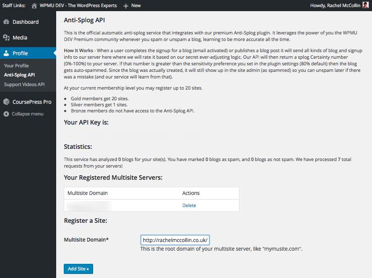 The WPMU DEV Anti-splog API screen