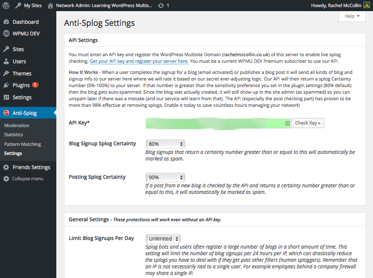 Anti-splog settings screen with plugin correctly set up