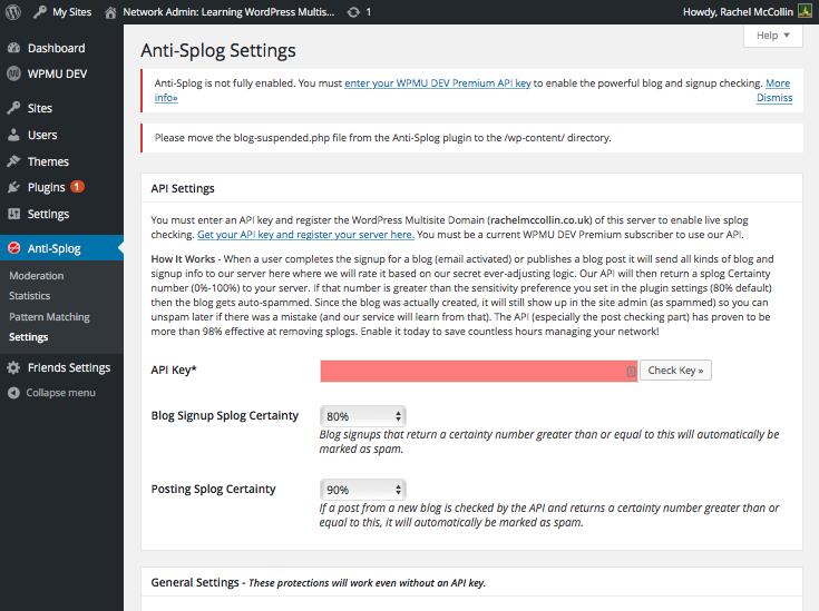 Anti-splog plugin - setting screen
